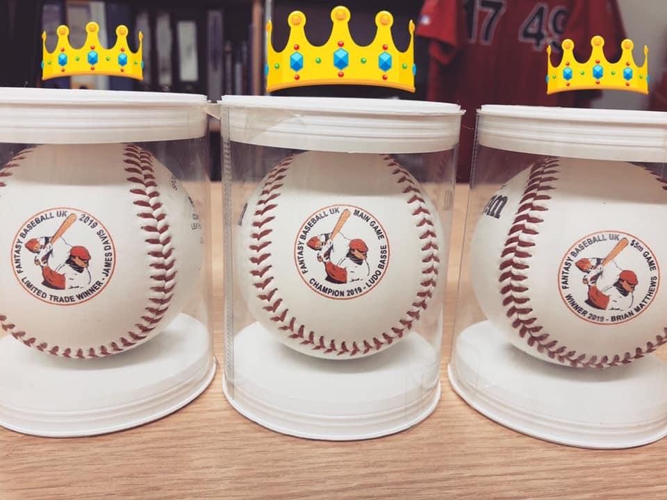 2019 champions printed baseball trophies